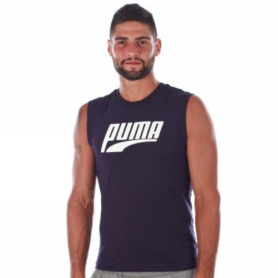 Puma Tank Top Mens Large Logo Sl Tee 100% Cotton Blue