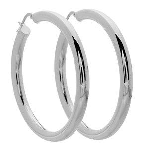 Italian Sterling Silver Large Hoop Earrings