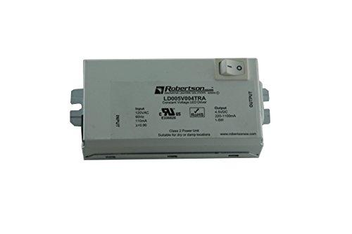 Robertson 3P30047 Ld005V004Tra Led Driver, 1-5 Watt, 120Vac Input, 220-1100Ma Constant Voltage, 4.5Vdc Output, Class 2 Power Unit