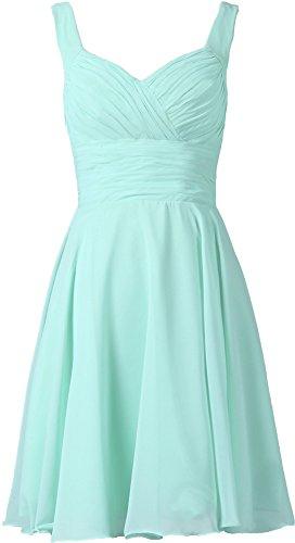 ANTS Women's V-neck Chiffon Bridesmaid Dresses Short Prom Gown Size 2 US Cyan