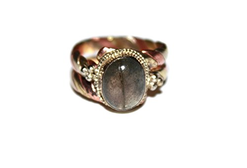 Copper Brass Labradorite Ring, Tibetan Ring, Nepal Ring, Gypsy Ring, Healing Ring (8) (Copper Rings compare prices)