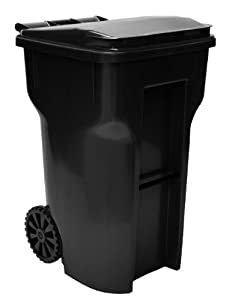 64 Gallon Black Heavy Duty Outdoor Trash Can With Wheels And Att