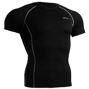 emFraa Homme Femme Sport Compression Black Baselayer Tee-Shirt Short sleeve S