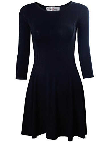 Tom's Ware Women's Casual Slim Fit and Flare Round Neckline Dress TWCWD052