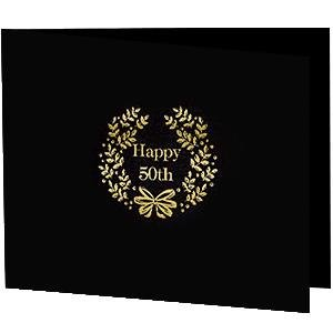 Happy 50Th Foil On Black Cardboard Photo Folder Our Price Is For 50 Pcs - 4X6