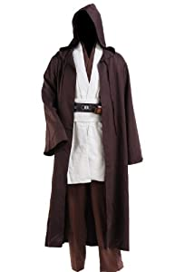 Star Wars Jedi Robe Adult Costume Brwon with White Version,Men-Large