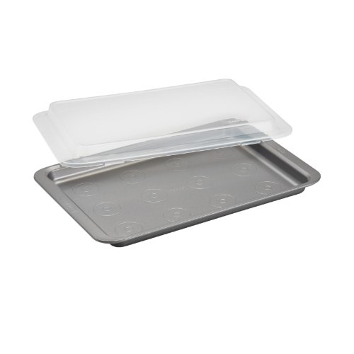 Cake Boss Basics Nonstick Bakeware 10-Inch By 15-Inch Covered Cookie Pan, Gray