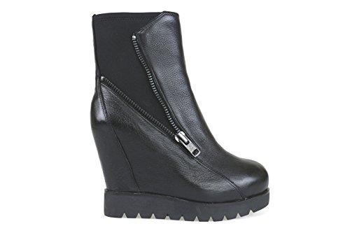 scarpe donna ASH 39 stivaletti zeppe nero pelle tessuto AK740