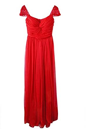 Women's Elegant Sweetheart Cap Sleeves Full Length Wedding Gala Prom Bridesmaid Evening Dress-Red-US Size 12