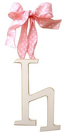 New Arrivals Wooden Letter H with Pink Polka Dot Ribbon, Cream