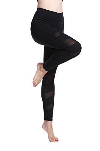 Lotsyle Women's Mesh Panels Stretchy Workout Sports Gym Yoga Leggings Ninth Pants Black1-M