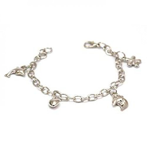 The Olivia Collection Silvertone Dolphin Charm Bracelet 7.5 inches