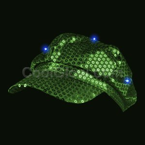 Fun Central AI313 LED Light Up Sequin Newsboy Hat - Green