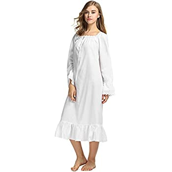 Avidlove Womens Cotton Victorian Nightgowns Romantic Long Bell Sleeve Nightshirt