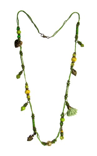 Chic Chic Collection Multi Bead Tassel Necklace For Women (Multicolor)