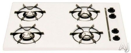Summit : WTL053 30 Gas Cooktop with 4 Open Burners and Electronic Ignition: White
