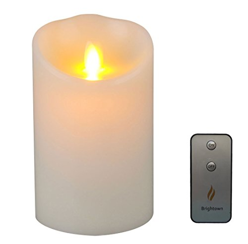 Brightown Lumina 3.5-Inch by 5-Inch Flameless Moving Wick Wax Candle with Remote, Ivory (Flameless Remote Candle compare prices)