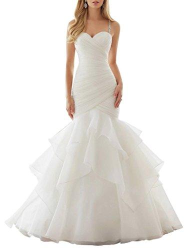 Dapene Womens Beaded Sweetheart Tunic A Line Beach Bridal Wedding Dress