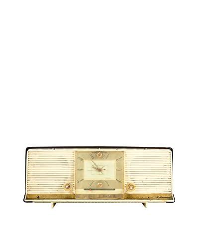 1950s Vintage Silverstone Clock Radio, Cream/Gold/Brown