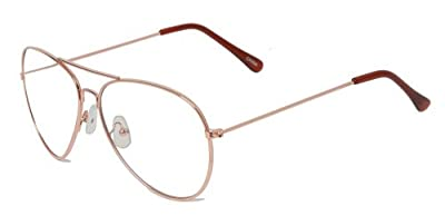New Non-Prescription Premium Aviator Clear Lens Glasses - (3 Frame Colors Available), Gold