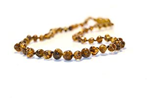The Art of CureTM *SAFETY KNOTTED* Green Occlusion - (Unisex) - Certified Baltic Amber Baby Teething Necklace Highest Quality Guaranteed- Anti Inflammatory, Drooling & Teething Pain. Easy to Fastens with a Twist-in Screw Clasp Mothers Approved Remedies!