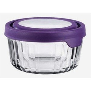 Anchor Hocking 91829uk Small True Seal Round Storage Jar With Purple Lid