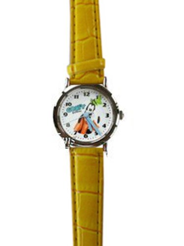 Yellow Leather Band Goofy Watch - Disney Goofy Kids Watch
