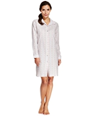 Limited Collection Pure Cotton Dobby Heart & Striped Nightshirt