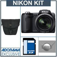 Nikon Coolpix L110 Digital Camera Kit, - Matte Black - With 4GB SD Memory Card, Camera Case, 2 Year Extended Service Coverage