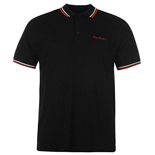 Pierre Cardin Tipped Polo da uomo nero T-shirt Tee Top, Black, XL