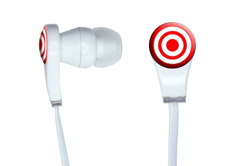 Graphics And More Target Sniper Scope Bullseye Novelty In-Ear Headphones Earbuds - Non-Retail Packaging - White