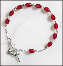 Womens or Teens Catholic Red Confirmation Rosary Bracelet, Red Bead, Silver Tone, Material: Acrylic 6 X 8 Mm Bead Size: 8
