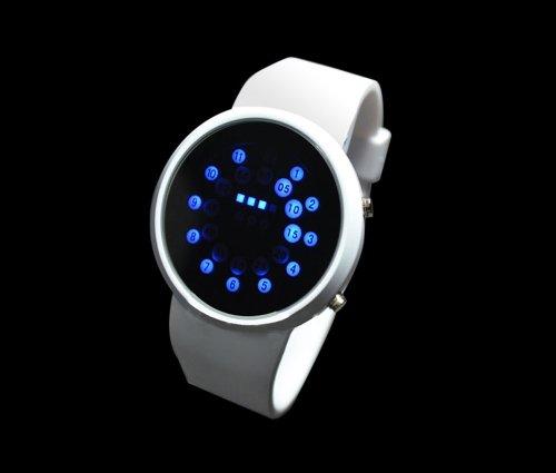 Digital Family® Cool White Mirror Blue Led Rolling Ball Date Day Sport Men Quartz Wrist Watch