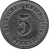5 Pfennig Imperio Alemán, 1908 D (Jäger: 12) MBC
