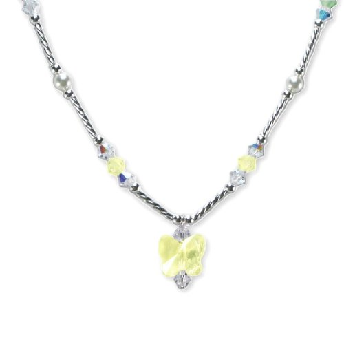 Yellow Butterfly Necklace Made with SWAROVSKI ELEMENTS Crystals and Pearls Sterling Silver