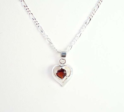 Birthstone January Garnet Heart Crystal Sterling Silver Necklace