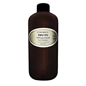 Australian Emu Oil by Dr. Adorable Triple Refined Organic 100% Pure 16 Oz