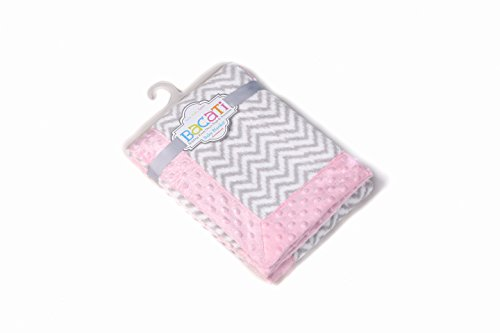 "Bacati Ikat Zigzag Chevron with Border Plush Blanket, Grey/Pink, 30"" x 40"""