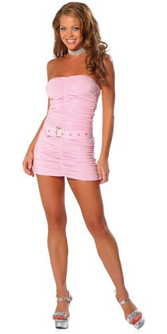 Ruched Strapless Mini Dress With Belt