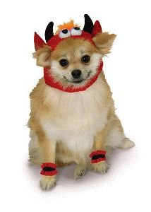 Devil Headpiece and 4 Paw Cuffs Pet Costume Size