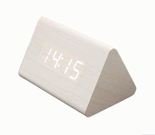 オシャレ ♪【全3カラー】木目調 多機能 LED デジタル時計 音声感知 目覚まし時計 置き時計 クロック ライトの色も選べる! カラーバリエーション【ブラック (黒)/ ホワイト(白)/ ブラウン (薄茶)】