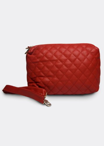 Red Anonymous Co. Red Quilted Pouch With Leather Strap
