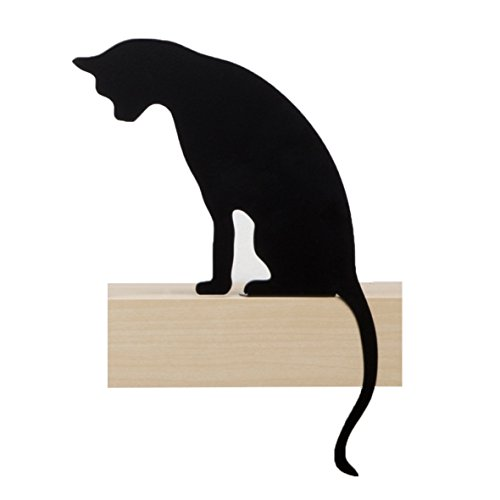 Cat's Meow-Princess-Sagoma decorativa a forma di gatto, in metallo, colore: nero