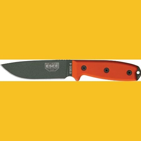 Esee Knives 4Pkood Foliage Green Powder Coated Blade Model 4 Plain Edge Fixed Blade Knife With Orange G-10 Handles