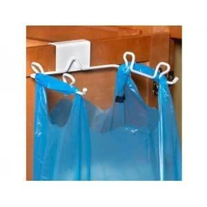 white grocery garbage trash bag holder hangs over the cabinet door perfect for. Black Bedroom Furniture Sets. Home Design Ideas