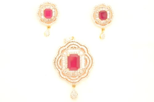 Fashion Balika Fashion Jewelry Gold-Plated Pendant Set For Women Pink-BFJER114 (Multicolor)