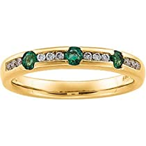 14K Yellow Gold Emerald & Diamond Anniversary Band Ring Size 7.0