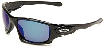 Oakley Mens Ten OO9128-12 Polarized Rectangle Sunglasses,Polished Black Frame/Deep Blue Lens,One Size