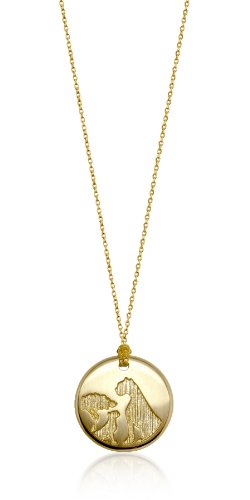 "Alex Woo ""African Cats"" 14k Yellow Gold Disc Pendant, 18"""