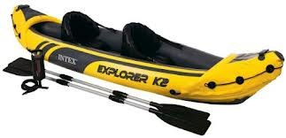 Intex Explorer K2 Kayak 2 man inflatable canoe + oars + pump #68307